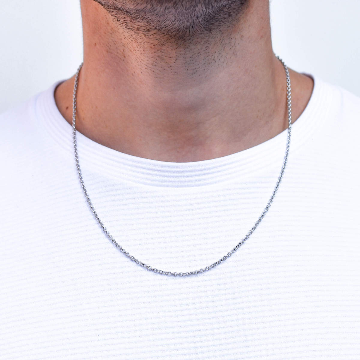 Silver Cable Chain Necklace for Men