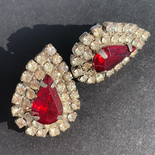 Load image into Gallery viewer, red rhinestone vintage earrings