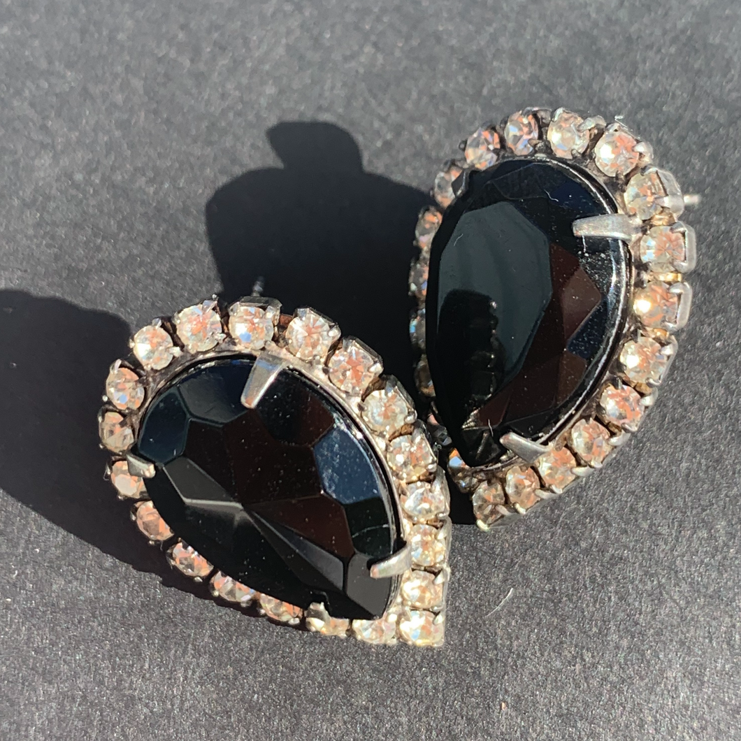 black rhinestone vintage earrings
