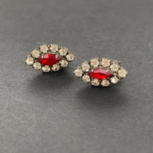 Load image into Gallery viewer, red rhinestone vintage small studs