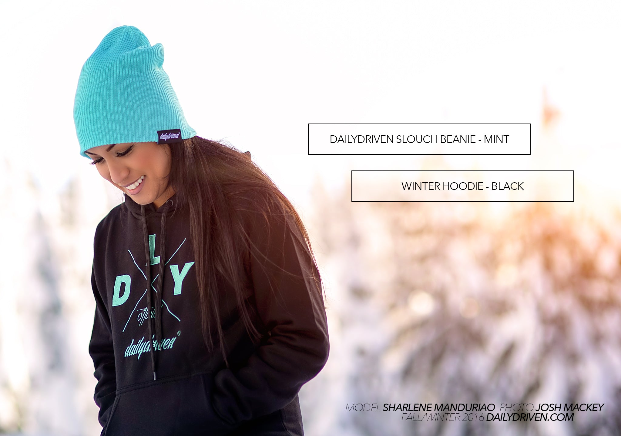 DailyDriven Slouch Beanie Winter Hoodie Black Mint