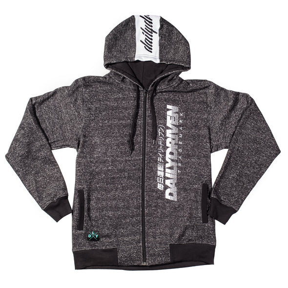 DailyDriven Trademark Black Melange Cotton Fleece Zip Up Hoodie