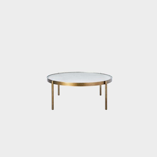 Tab High Round Coffee Table - Brass