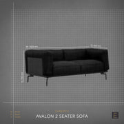 Avalon 2 Seater Sofa - Black