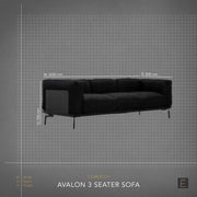 Avalon 3 Seater Sofa - Black