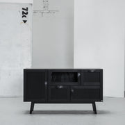 Hans K Rainbow Black Oak sideboard cabinet with glass at EDITO Furniture