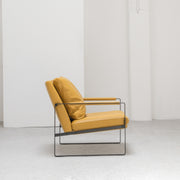 Contemporary Camerich mustard Leather Leman Armchair with metal legs at EDITO Furniture