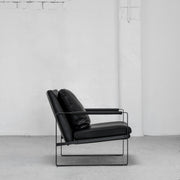 Contemporary Camerich Black Leather Leman Armchair with metal legs at EDITO Furniture
