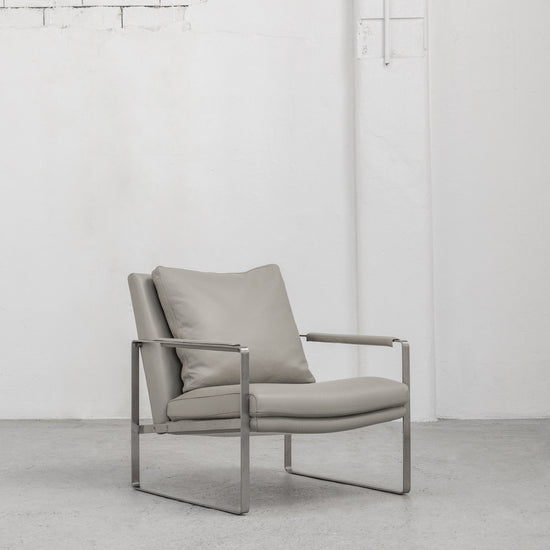 Contemporary Camerich stone Leather Leman Armchair with metal legs at EDITO Furniture