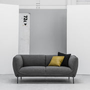 Maya grey 2 Seater Sofa with yellow cushion at EDITO Furniture