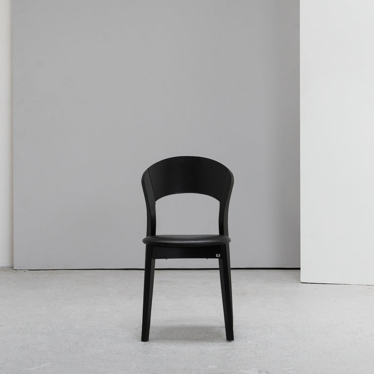 Rainbow Dining Chair - Black Oak + Leather