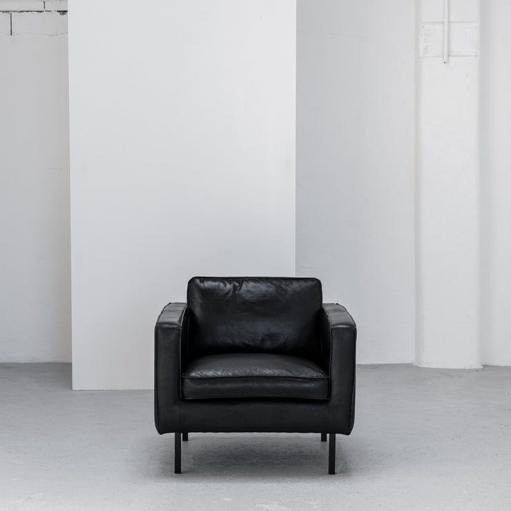 industrial black leather armchair at EDITO Furniture