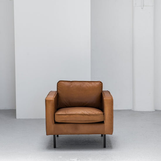 industrial tan leather armchair at EDITO Furniture
