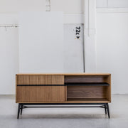 La Forma Hendrix Oak Sideboard with sliding doors and black legs at EDITO Furniture