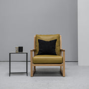 scandinavian Camerich Simon Armchair mustard leather and oak at EDITO Furniture