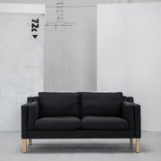 Modern charcoal 2 seater sofa with wooden legs at EDITO Furniture