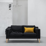 Modern charcoal 2 seater sofa with yellow cushion at EDITO Furniture