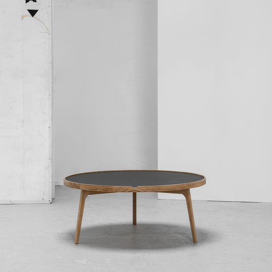 Hans K Racquet Round Coffee Table charcoal linoleum and oak at EDITO Furniture