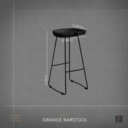Grange Barstool - Oak + White Metal