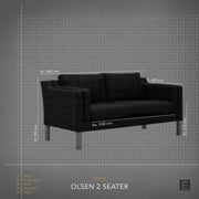 Olsen 2 Seater Sofa - Black Leather