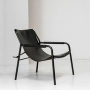 Black leather slung armchair or occasional chair with metal frame at EDITO Furniture