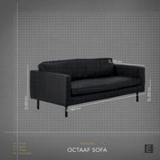 Octaaf 2.5 Seater Sofa - Black