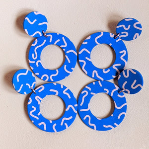 Blue Squiggle Large Donut Dangles