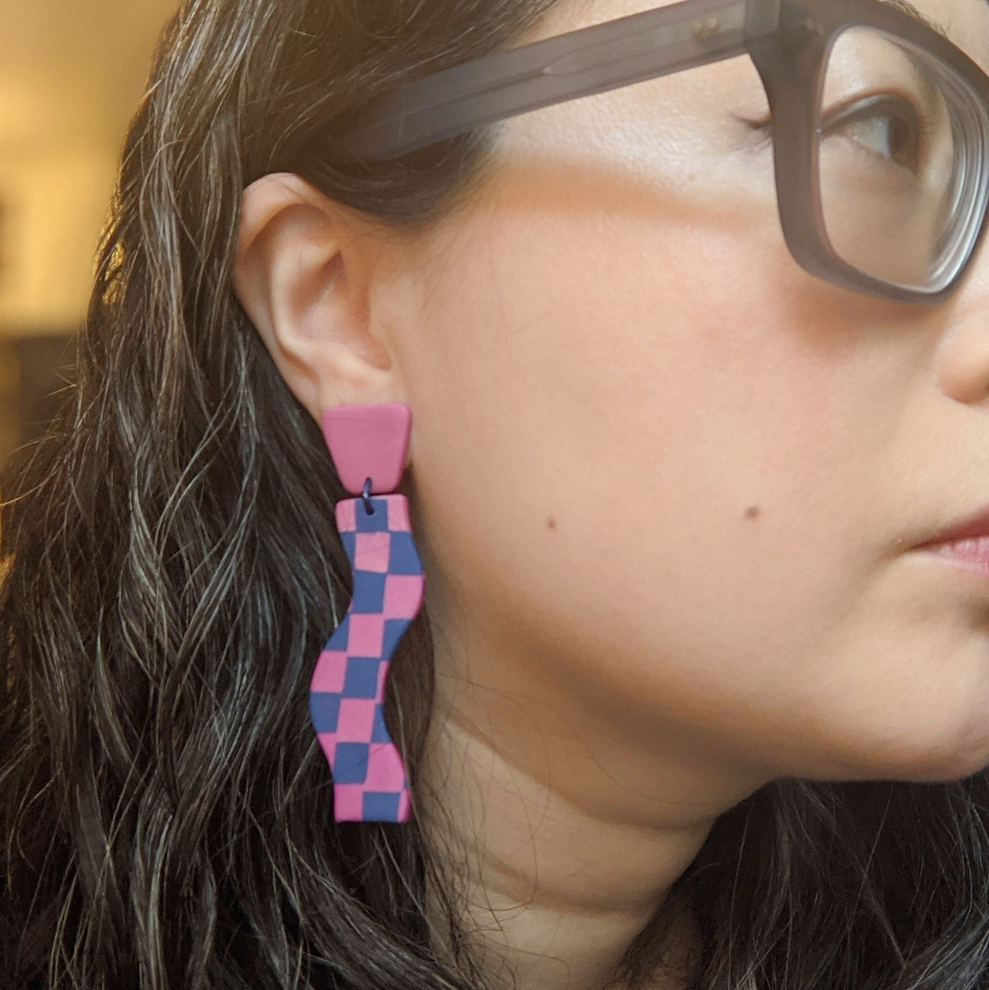 Seconds Sale - Checkerboard Wiggly Dangles