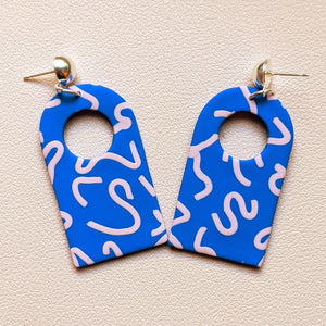 Blue Squiggle Open Arch Dangles