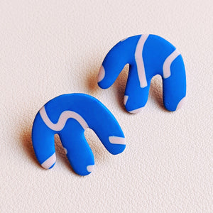 Seconds Sale - Blue Squiggle Drip Studs