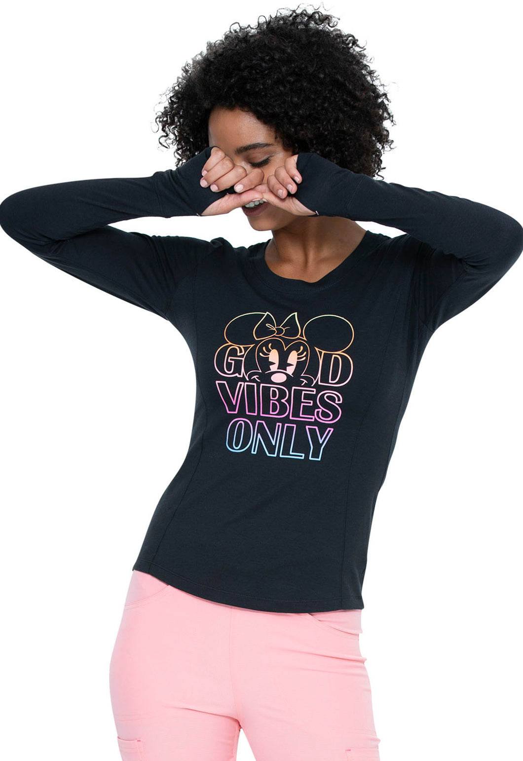 Long Sleeve Underscrub Knit Tee in Good Vibes Minnie