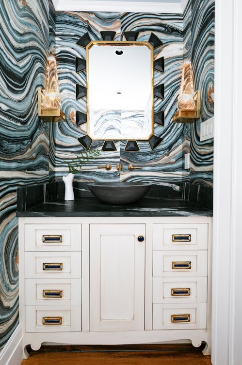 Bathroom Design with McCoy Pulls in Brass with Lapis Gemstones