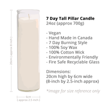 Load image into Gallery viewer, WATER: One Love - 7 Day Tall Pillar Candle