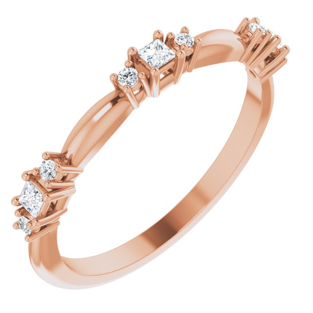 Stackable Tri Diamond Rose Gold Ring