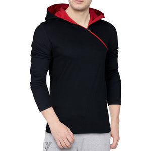 Seven Rocks Black Trendy Cotton Hooded T Shirt