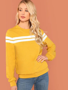 Women's Mustard Striped Tunic Pullover