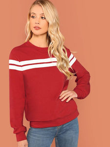 Women's Red Striped Tunic Pullover