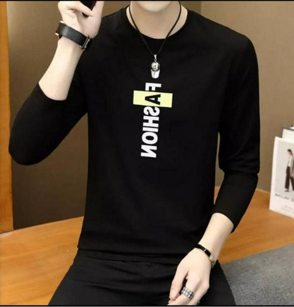 Black Printed Polycotton Round Neck T-Shirt