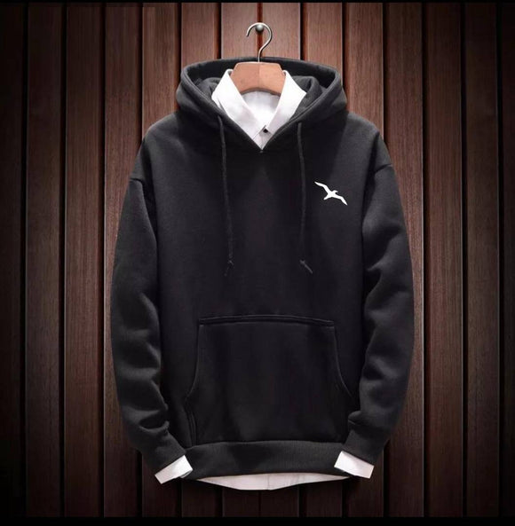 Men's Black Cotton Blend Solid  Long Sleeves Regular Hoodies