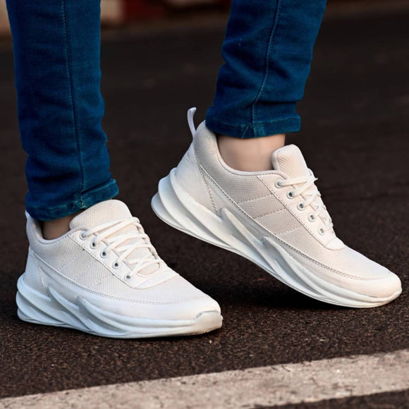 White Synthetic Sport Sneakers Shoes For Men's