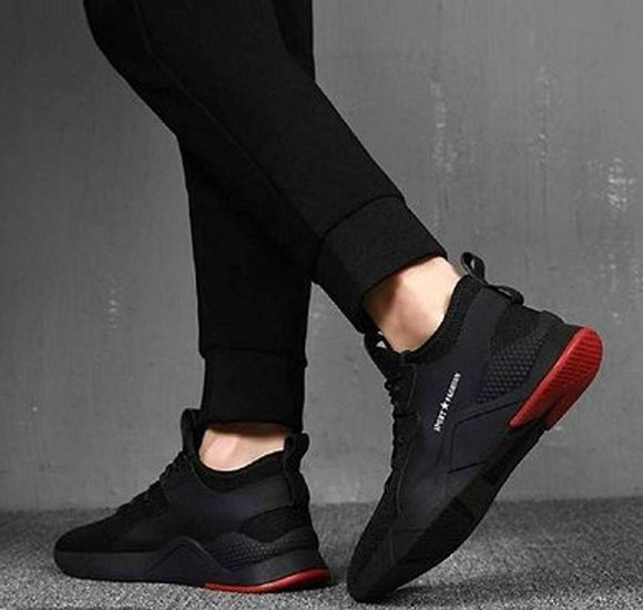 Trendy Black Sports Sneakers for Men