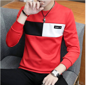 Men's Red Cotton Self Pattern Round Neck Tees