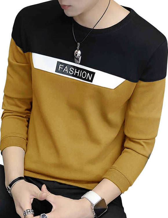 Men's Olive Colourblocked Cotton Round Neck Tees