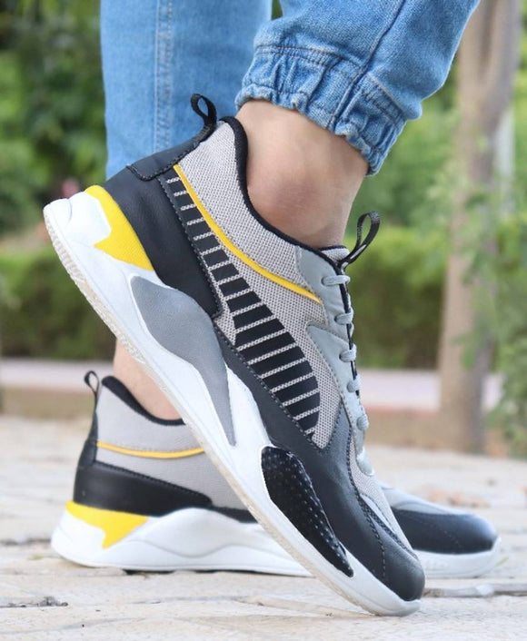 StyleRoad Trendy Grey Breathable Sports Sneakers For Men