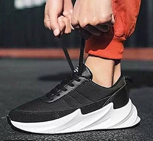 Men's Stylish and Trendy Black Solid Synthetic Sport Sneakers
