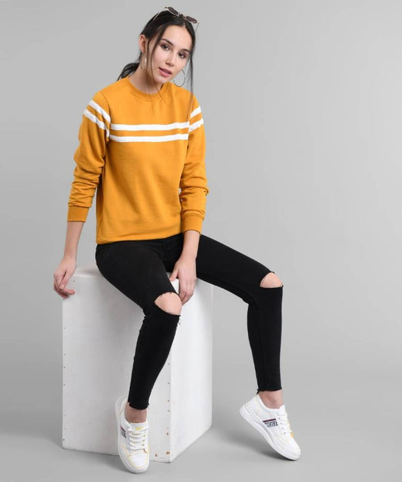 Elizy Women Mustured Plain White Stripe Pullover