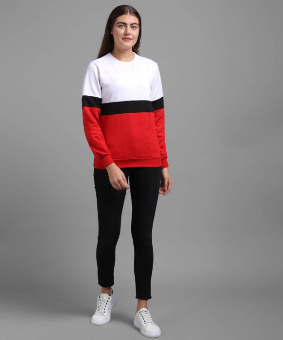 Elizy Women Red Black White Plain Stripe Pullover