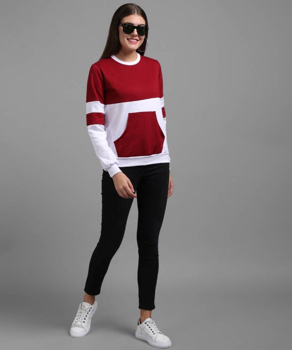 Elizy Women White Maroon Plain Stripe Pulover