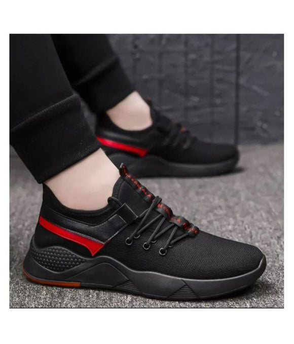 Men's Stylish and Trendy Black Self Design Mesh Casual Sports Shoes