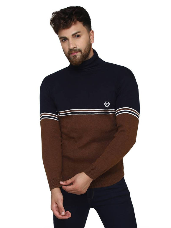 Self Design Blue Synthetic Long Sleeves Turtle Neck Sweaters